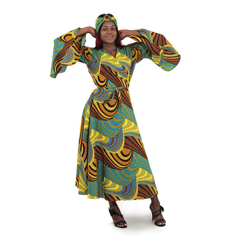 African Turquoise Abstract Print Wrap Dress