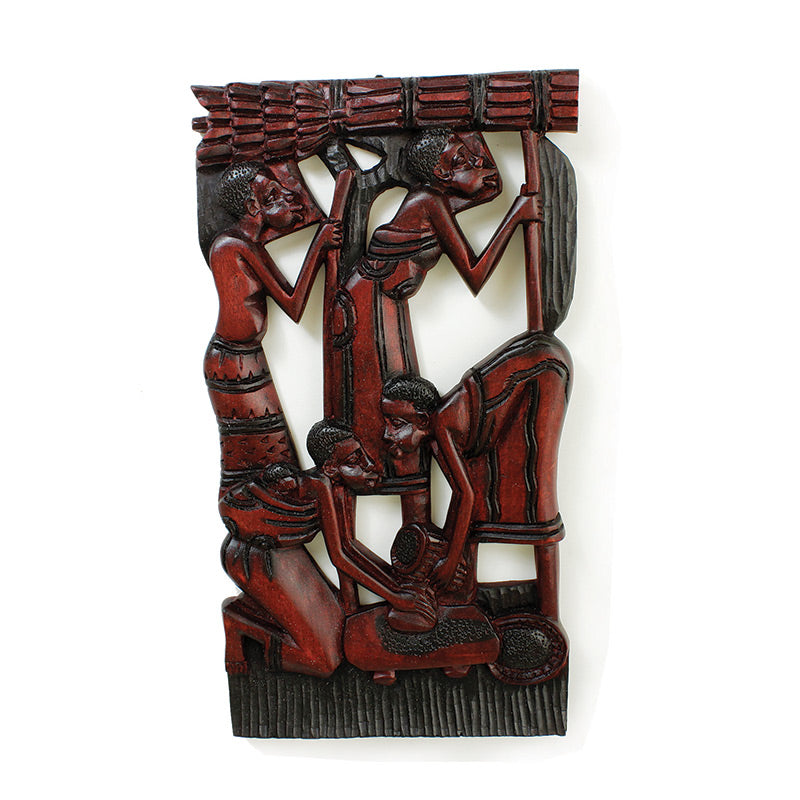 African Village Wood Wall Sculpture