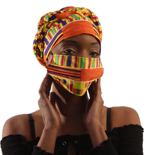 African Kente Print Headwrap & Mask Set