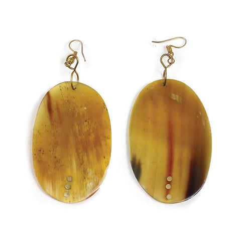 Kenyan Amber Colored Horn Oval Earrings