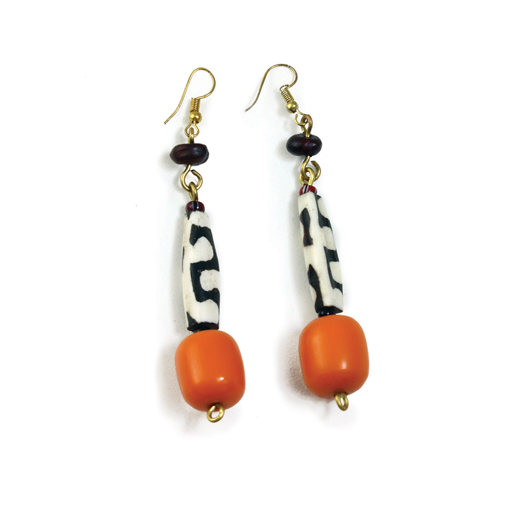 African Bone & Resin Drop Earrings