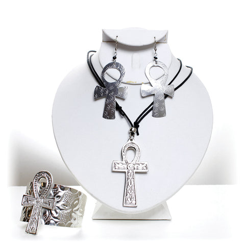 3 Piece Silver Ankh Jewelry Set