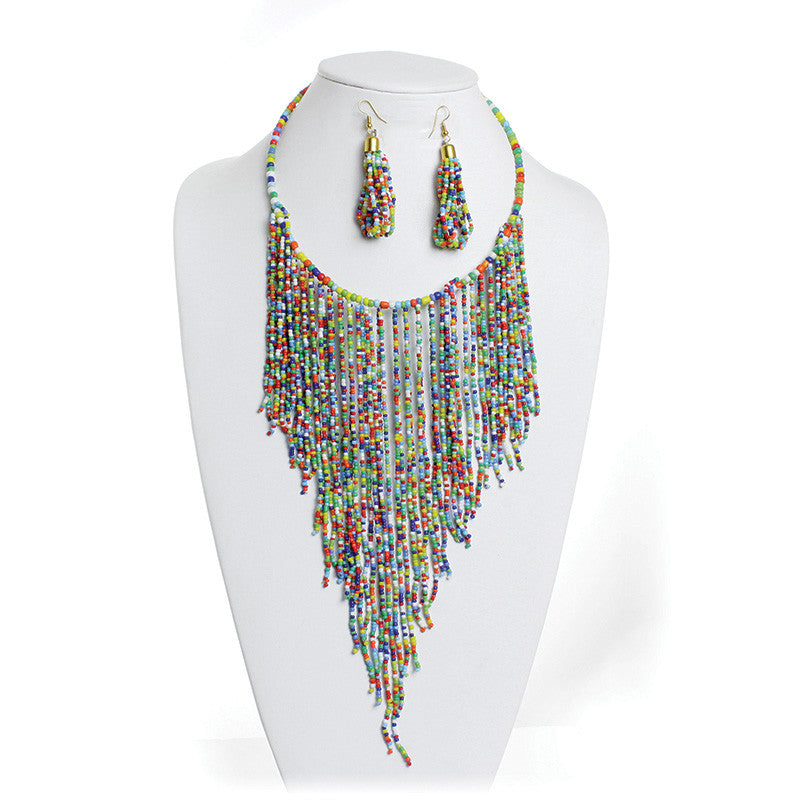Rainbow Fringe Beaded Choker and Earring Set
