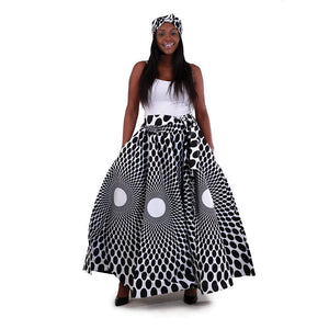 Black-White Abstract Luxury Maxi Skirt with Matching Scarf