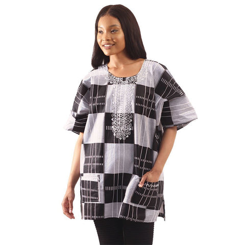 Ladies Embroidered Plaid Kente Dashiki