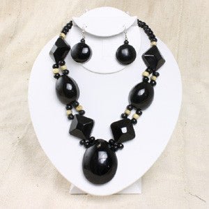 Black Bone Beaded Necklace & Earring Set
