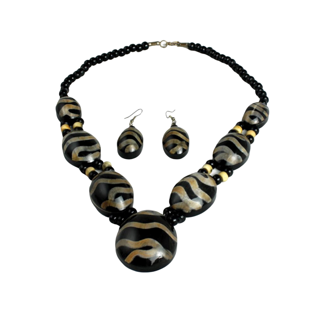 Animal Print Bone Necklace & Earring Set