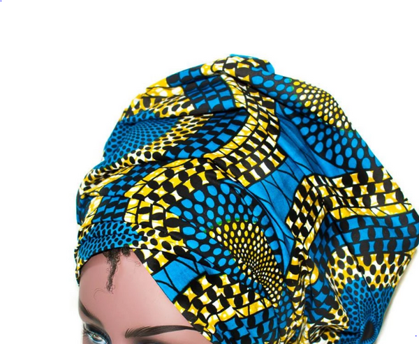African Print Headwrap - Blue Gold Abstract