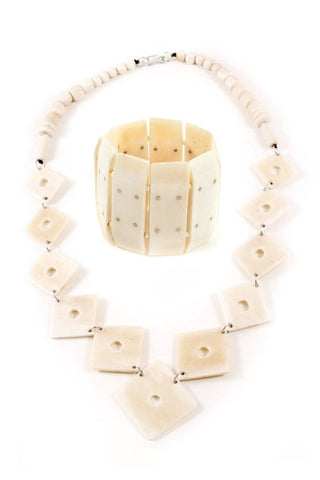 Handcarved Bone Necklace and Bracelet Set