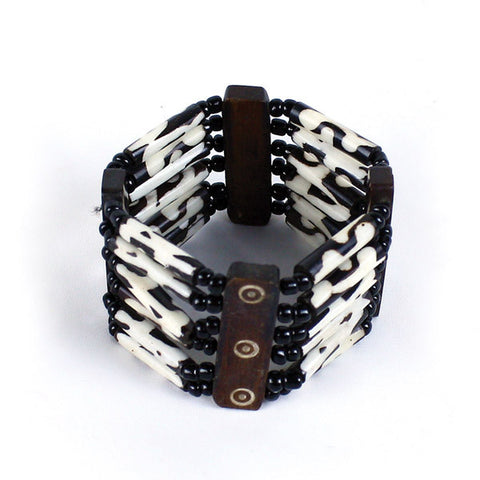 Genuine Bone Multi Strand Adjustable Bracelet
