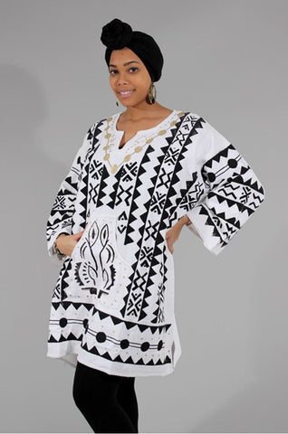 Ladies Premium Cotton Chiwara Print Dashiki