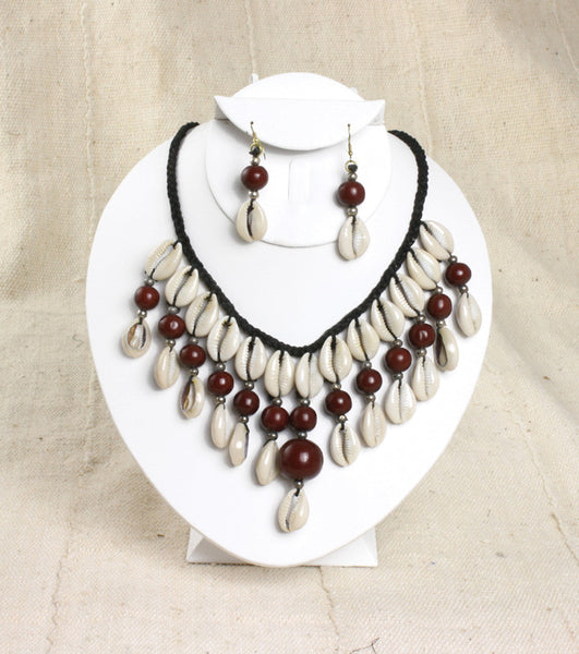 Beaded Cowry Shell Necklace & Earring Set