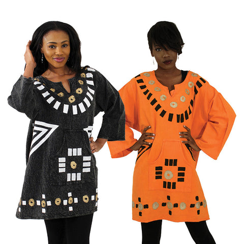 Ladies Premium Cotton Mud Print Dashiki