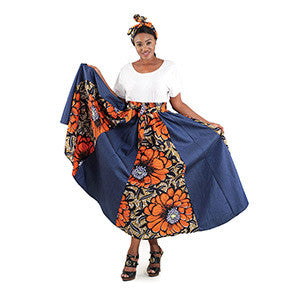Denim African Print Maxi Skirts with Matching Scarf