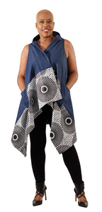 Ladies African Print Denim Vest