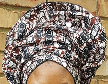 African Print Headwrap - Copper Sand Multi