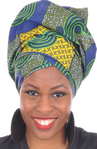 African Print Headwrap - Seabreeze Abstract