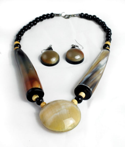 Oversized Earthtone Bone Pendant Choker and Earring Set