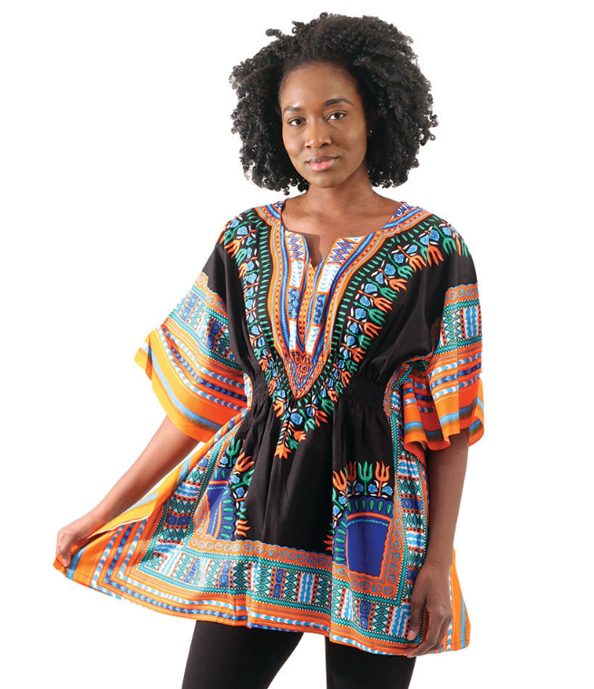 Ladies Traditional Print Elastic Waist Dashiki