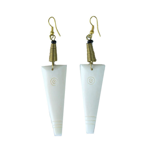 Engraved Arrowhead Bone Earrings