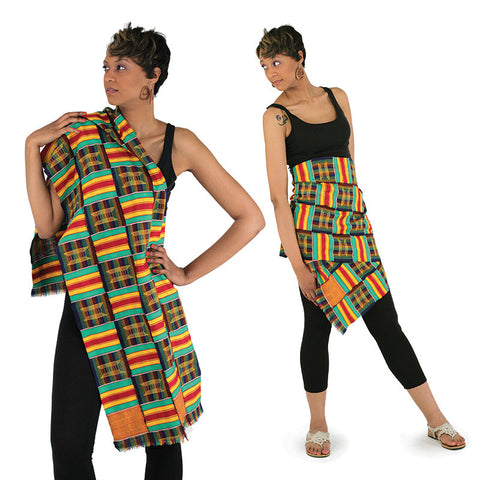 Extra Wide Hand Woven Kente Scarf or Runner