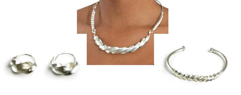 Fulani Twist Necklace-Bracelet-Earring Set