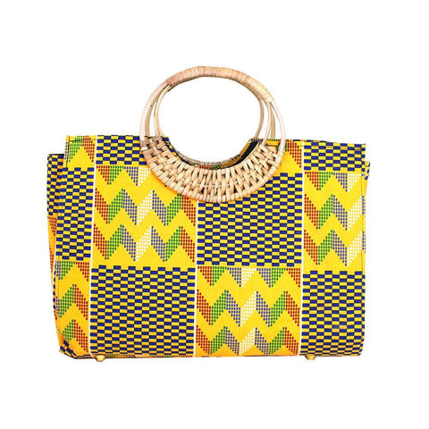 Ghanaian Hand-Crafted Yellow Kente Purse