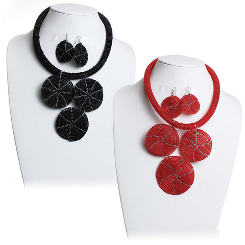 Kenyan Beaded Choker & Earring Set