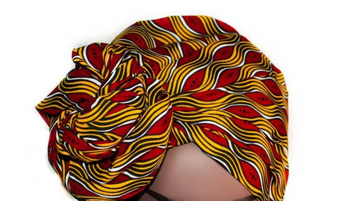 African Print Headwrap - Goldenrod Fire