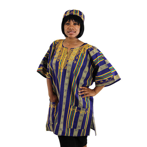 Unisex Kente Dashiki with Matching Kufi