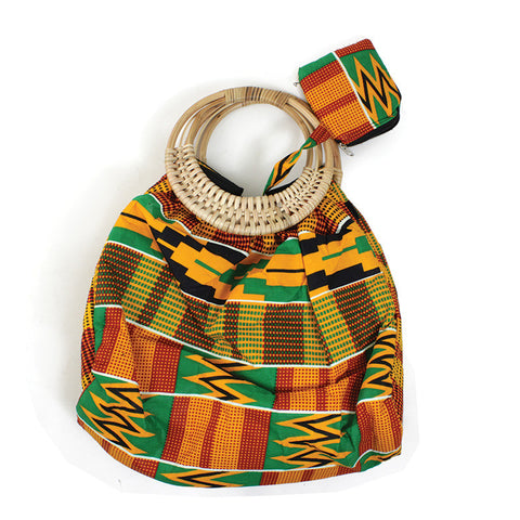 Hand-crafted Bamboo Handle Kente Purse