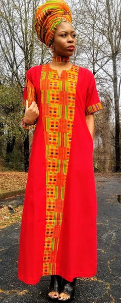 Ladies Kente Embellished Maxi Dress