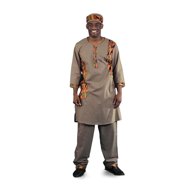 Men's Luxury Kente Trim Pant Suit