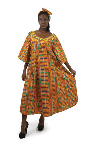Embroidered Kente Print Traditional Umbrella Dress
