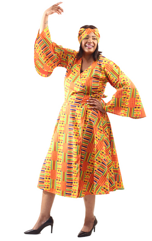 African Kente Print Wrap Dress