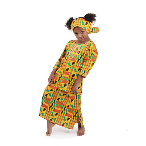 Girl's Embroidered Kente Set