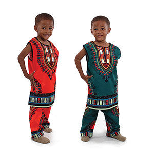 Children's Traditional Print Sleeveless Dashiki Set