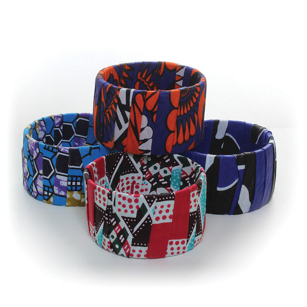 Kenyan Kitenge Wide Bangle Bracelet