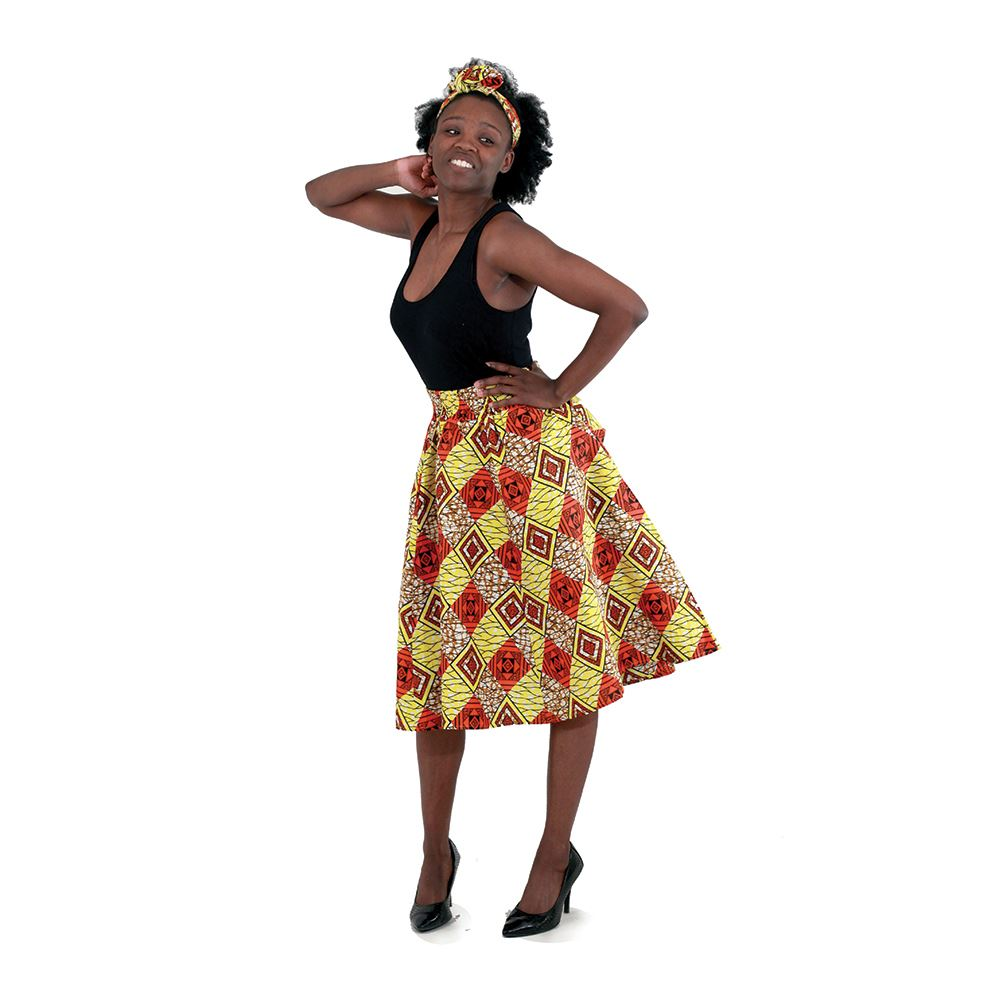 African Print Knee Length Skirt with Matching Scarf