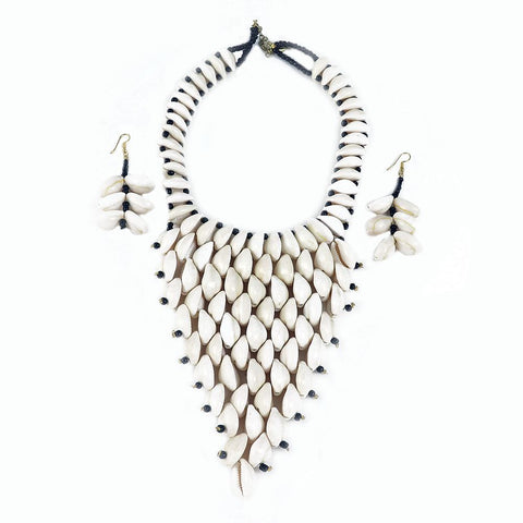 Kodi Cowry Bib Necklace and Earring Set