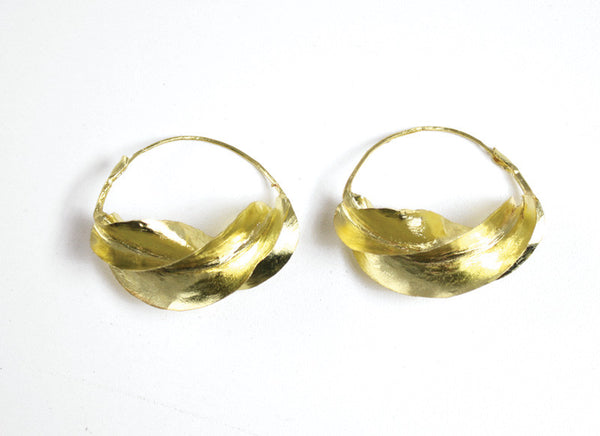 Handcrafted Fula Gold or Silver Twist Earrings