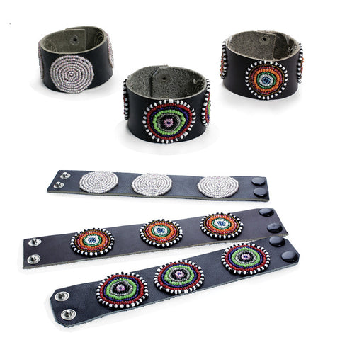 Handcrafted Beaded Leather Cuff