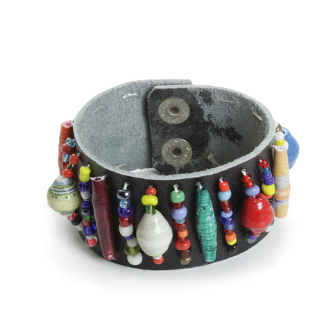 Handcrafted Embellished Leather Cuff