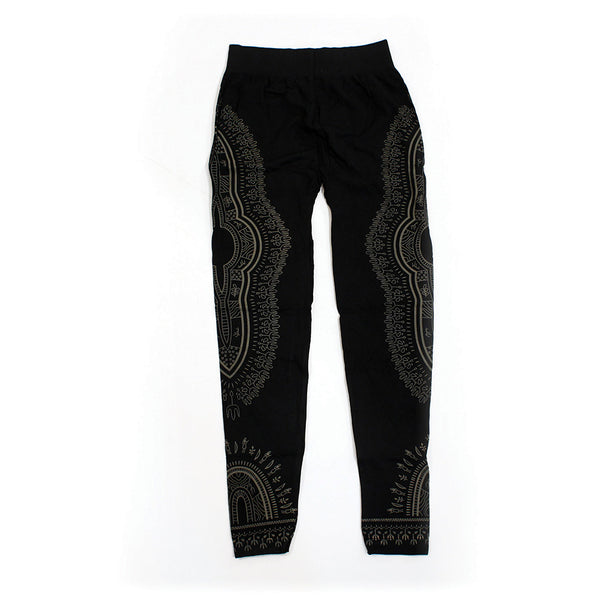 Traditional Print Black Leggings