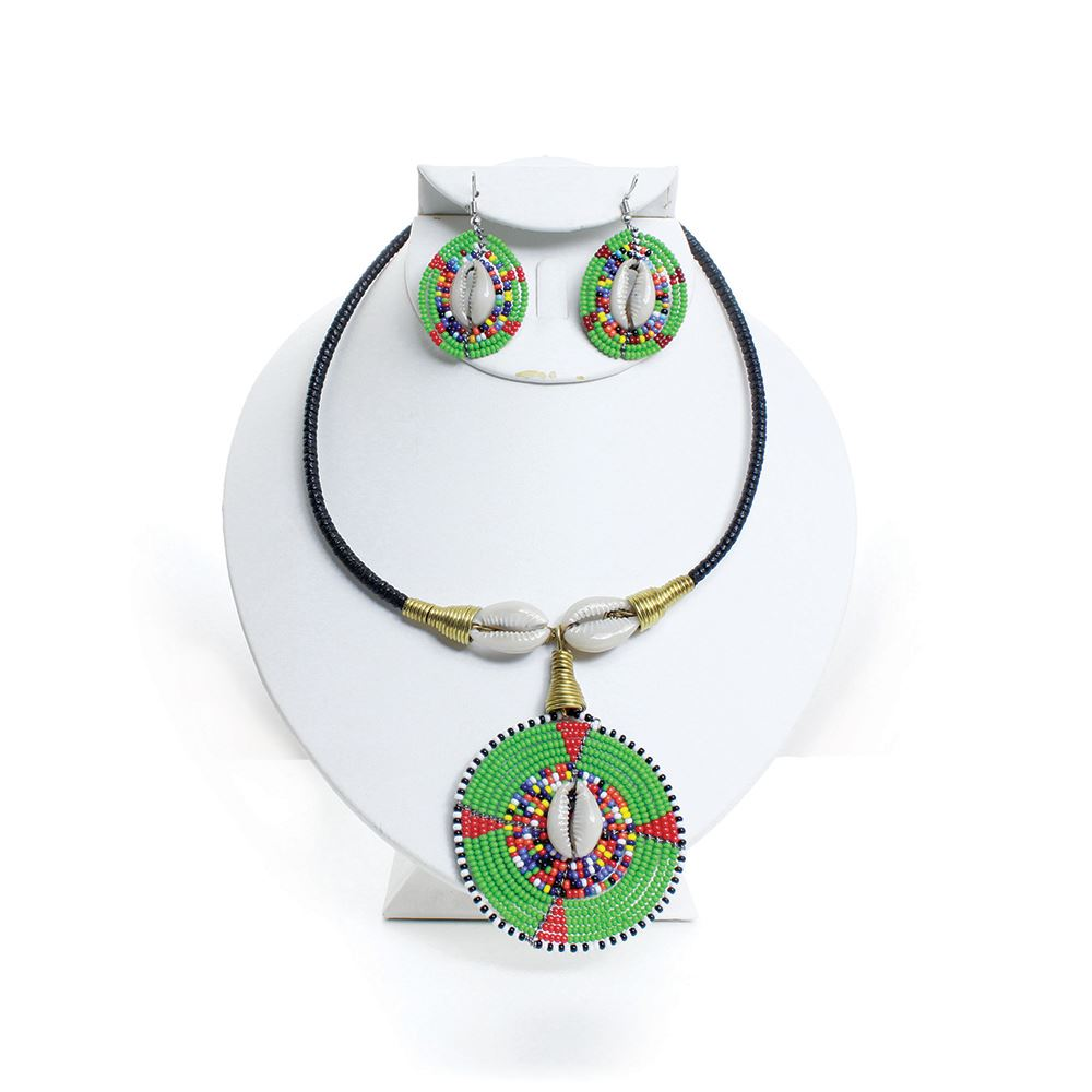 Maasai Beaded Cowry Pendant Choker & Earring Set