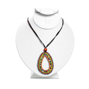 Maasai Beaded Tear Drop Pendant Necklace