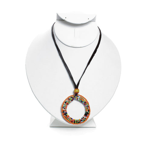 Maasai Beaded Hoop Pendant Necklace