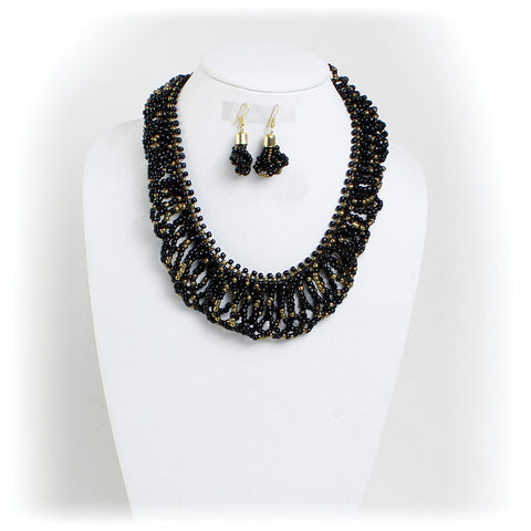 Black & Gold Maasai Twist Necklace & Earring Set