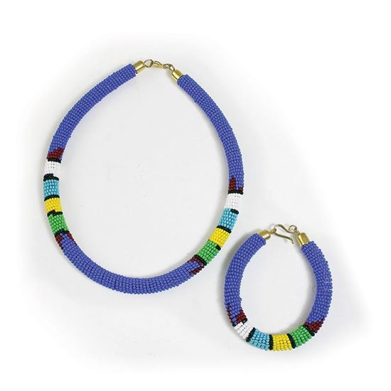 Maasai Beaded Choker Necklace and Bracelet Set