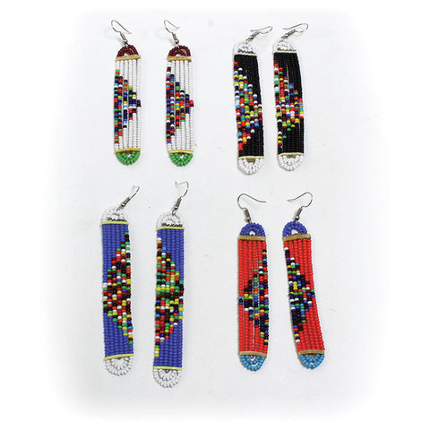 Hand-crafted Long Maasai Beaded Earrings